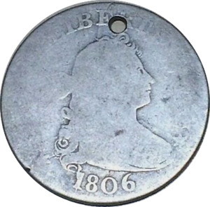 1806 DRAPED BUST SILVER 25C QUARTER LOOKS AG DETAILS  HOLED/CLEANED
