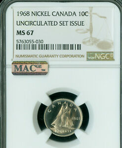 1968 CANADA 10 CENTS NGC MS67 PQ 2ND FINEST GRADE MAC SPOTLESS  .