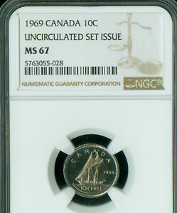 1969 CANADA 10 CENTS NGC MS67 2ND FINEST GRADE MAC SPOTLESS  .