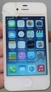 BROKEN AT&T APPLE IPHONE 4 8GB 7.1.2 MD198LL/A CLEAN IMEI WHITE CRACKED
