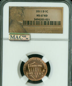 2011 D  LINCOLN CENT NGC MS67 RED 2ND FINEST GRADE MAC SPOTLESS .