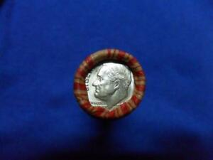 ROLL OF UNSORTED WHEAT PENNIES WITH SILVER  DIME AND A 1914 WHEAT ON ENDS