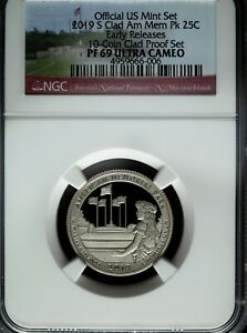 2019 S NGC PROOF 69 UCAM CLAD AMERICAN MEMORIAL PARK ATB QUARTEREARLY RELEASE