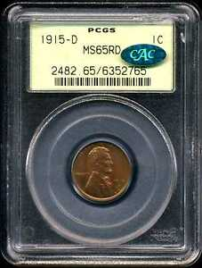 1915 D 1C LINCOLN WHEAT CENT MS65RD PCGS CAC 6352765