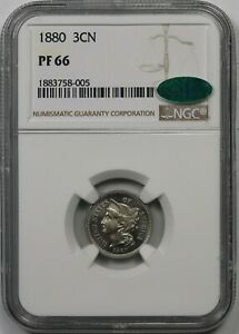 1880 3CN NGC/CAC PF 66  PROOF  NICKEL THREE CENT PIECE