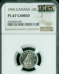 1965 CANADA 10 CENTS NGC PL67 CAMEO UCAM 2ND FINEST MAC SPOTLESS .