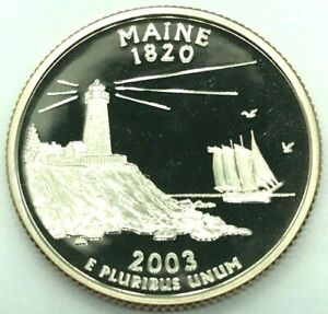 2003 S STATE QUARTER MAINE GEM PROOF DEEP CAMEO UNCIRCULATED CLAD US COIN
