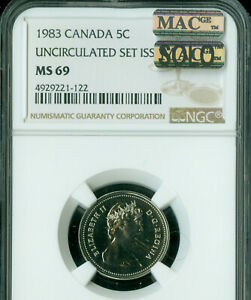 Click now to see the BUY IT NOW Price! 1983 CANADA 5 CENTS NGC MS 69 PQ MAC SOLO FINEST GRADE MAC SPOTLESS .