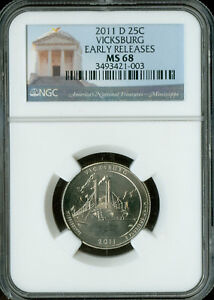 Click now to see the BUY IT NOW Price! 2011 D VICKSBURG PARKS QUARTER NGC MS 68 FINEST GRADE POP 15 .