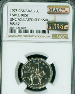 Click now to see the BUY IT NOW Price! 1973 LARGE BUST CANADA 25 CENTS NGC MS 67 PQ MAC FINEST GRADE SPOTLESS .