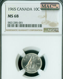 Click now to see the BUY IT NOW Price! 1965 CANADA 10 CENTS NGC MAC MS68 PQ SOLO FINEST GRADE MAC SPOTLESS .