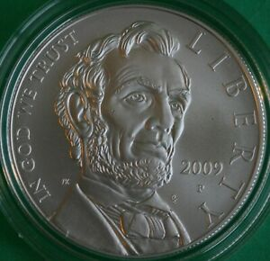 2009 P ABRAHAM LINCOLN BU COMMEMORATIVE SILVER ONE DOLLAR COIN ONLY UNCIRCULATED