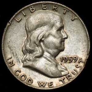 1959 50C US 90  SILVER FRANKLIN HALF DOLLAR   FINE  VF