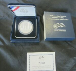 2010 W AMERICAN VETERANS DISABLED FOR LIFE SILVER DOLLAR PROOF. BOX & COA