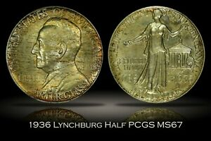Click now to see the BUY IT NOW Price! 1936 LYNCHBURG SESQUICENTENNIAL COMMEMORATIVE HALF DOLLAR PCGS MS67 NICE TONING