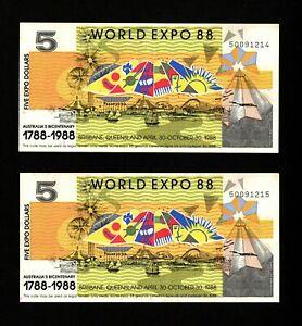 WORLD EXPO 1988 AUSTRALIAN BANKNOTE FIVE DOLLAR PAIR SEQUENTIAL NUMBERS