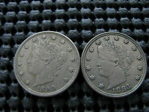 1890 AND 1883 NC WITH EXTENSIVE DIE CRACKS ON REVERSE LIBERTY NICKELS