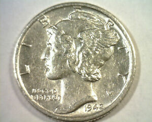 1942 D MERCURY DIME ABOUT UNCIRCULATED  AU  NICE ORIGINAL COIN 99C SHIPPING