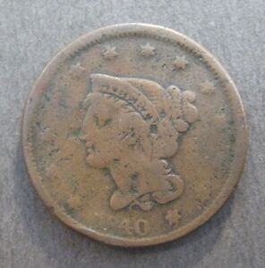 1840 BRAIDED HAIR LARGE CENT       NICE DETAILS & COLOR      P1459