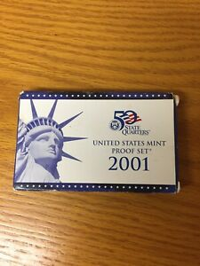 2001 S UNITED STATES MINT PROOF  10  COIN SET W/ BOX