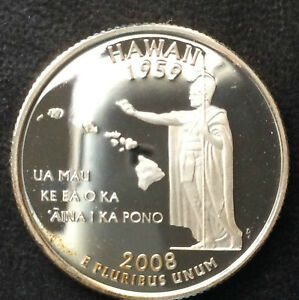 2008 S WASHINGTON QUARTER HAWAII STATEHOOD PROOF SILVER U.S. COIN A3850