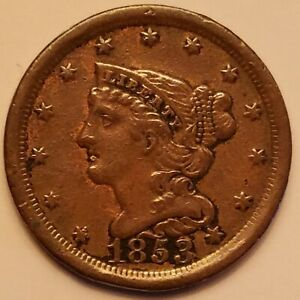 1853 BRAIDED HAIR HALF CENT FLAWLESS DETAILS NICELY TONED GRADES AU