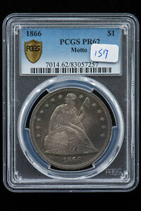 Click now to see the BUY IT NOW Price! 1866 SEATED LIBERTY $ MOTTO PCGS PR 62