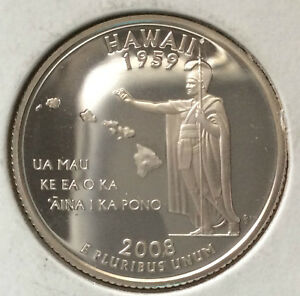 2008 S WASHINGTON QUARTER HAWAII STATEHOOD PROOF SILVER U.S. COIN A3845