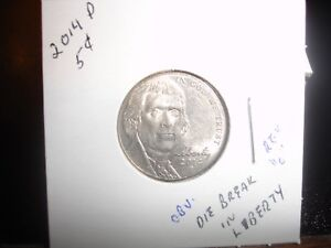 2014 D JEFFERSON NICKEL 5 CENT ERROR MULTIPLE DIE CRACKS / CUDS OBV REV LETTERS