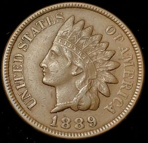 1889 INDIAN HEAD CENT XF AU NATURAL COLOR FULL LIBERTY SHARP DETAIL FREE S/H