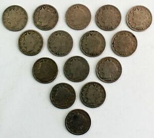 15 COIN LOT 1899 1912 LIBERTY HEAD V NICKELS 5C US COINS ASSORTED DATES AS SEEN