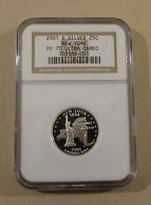 2001 S SILVER 25C NEW YORK STATE QUARTER NGC PF70 ULTRA CAMEO