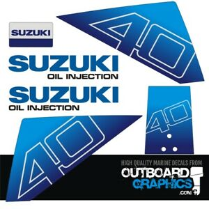 Suzuki 40 hp DT40 outboard engine decal sticker set kit reproduction 40HP