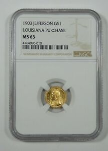 1903 LOUISIANA PURCHASE/JEFFERSON EXPOSITION COMMEMORATIVE GOLD $1 NGC MS 63