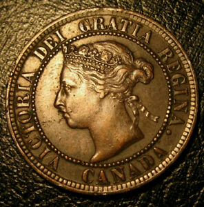 OLD CANADIAN COINS 1884 LARGE CENT CANADA HIGHGRADE BEAUTY