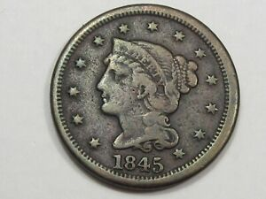 1845 US BRAIDED HAIR LARGE CENT COIN  OFF CENTER .  24
