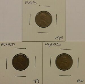 LINCOLN WHEAT PENNIES 1945 P D S