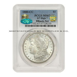 Click now to see the BUY IT NOW Price! 1880 CC 8/7 HIGH 7 $1 SILVER MORGAN PCGS MS67 PQ CAC CERTIFIED ILLINOIS SET COIN