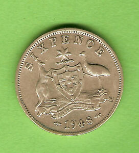 1948  AUSTRALIAN SILVER SIXPENCE COIN USUAL DULL STRIKE ON ADVANCE AUSTRALIA