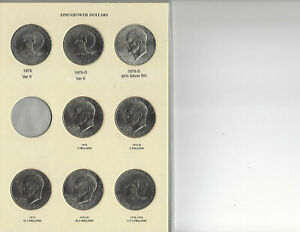 1973 1974 1976 2  1977 1978 P/D EISENHOWER UNC DOLLAR 12 COIN SET