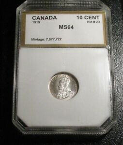OLD CANADIAN COINS 1919 UNC SILVER 10 C CHOICE TEN CENTS BEAUTY