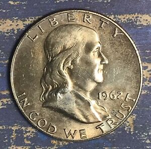 1962 D FRANKLIN SILVER HALF DOLLAR. NICE COLLECTOR COIN FOR YOUR SET.