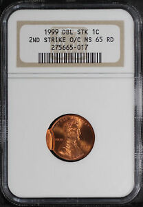1999 LINCOLN CENT NGC MS 65 RD DOUBLE STRUCK MINT ERROR 2ND STRIKE O/C