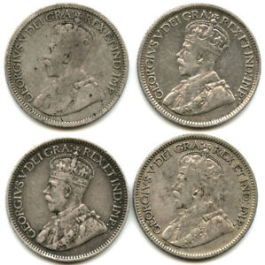 SET OF FOUR 1917 1920 CANADA SILVER DIMES