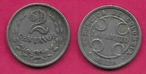 COLOMBIA 2 CENTAVOS 1921 VF TO BE USED IN 3 LEPER COLONIES KNOWN AS:LAZARETOS:
