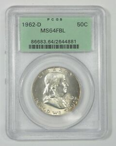 1962 D FRANKLIN SILVER HALF $ PCGS MS 64 FBL FULL BELL LINES OLD GREEN HOLDER