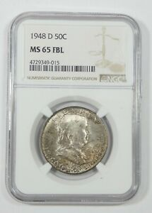 1948 D FRANKLIN SILVER HALF DOLLAR NGC MS 65 FULL BELL LINES   MINT SET TONE