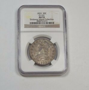 1833 CAPPED BUST/LETTERED EDGE SILVER 50C NGC AU 55 SKIDAWAY IS.COLLECTION O 101
