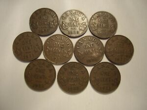 CANADA GEORGE V 1933 SMALL CENTS   LOT OF 10 COINS