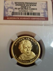 2008 S PROOF ANDREW JACKSON PRESIDENTIAL DOLLAR COIN   NGC PF 69 ULTRA CAMEO